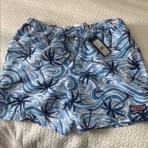 Men's Vineyard Vines blue palm swim trunks